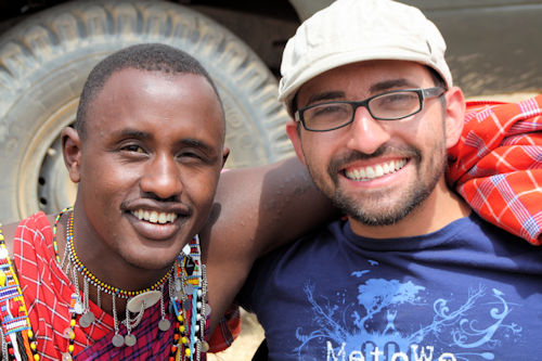 Spencer West with Wilson Meikuaya, a Maasai warrior in Kenya, 2010